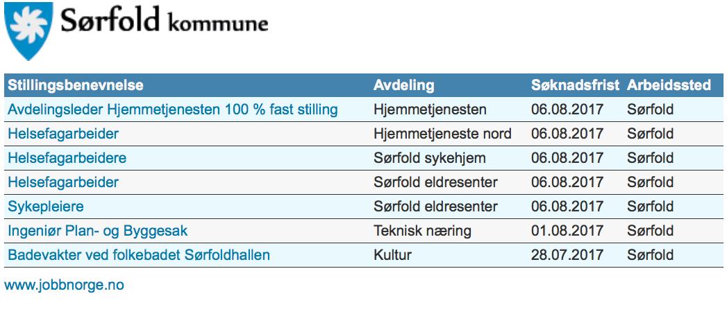 Ledige stillinger i Sørfold